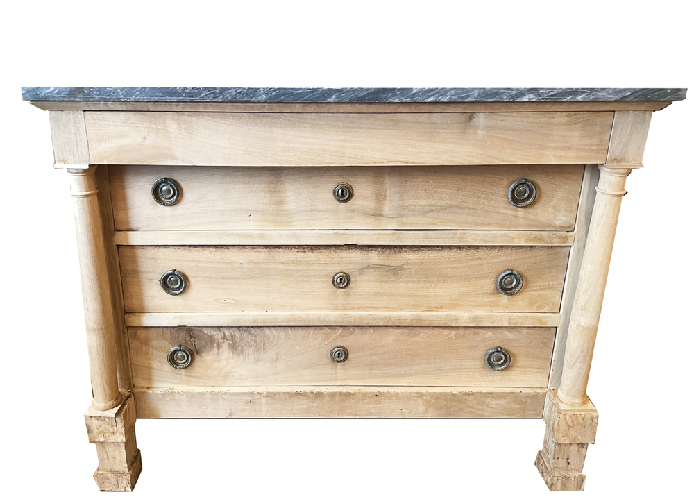 Image of 19th Century French Walnut Bleached Empire Commode With Gray Marble Top