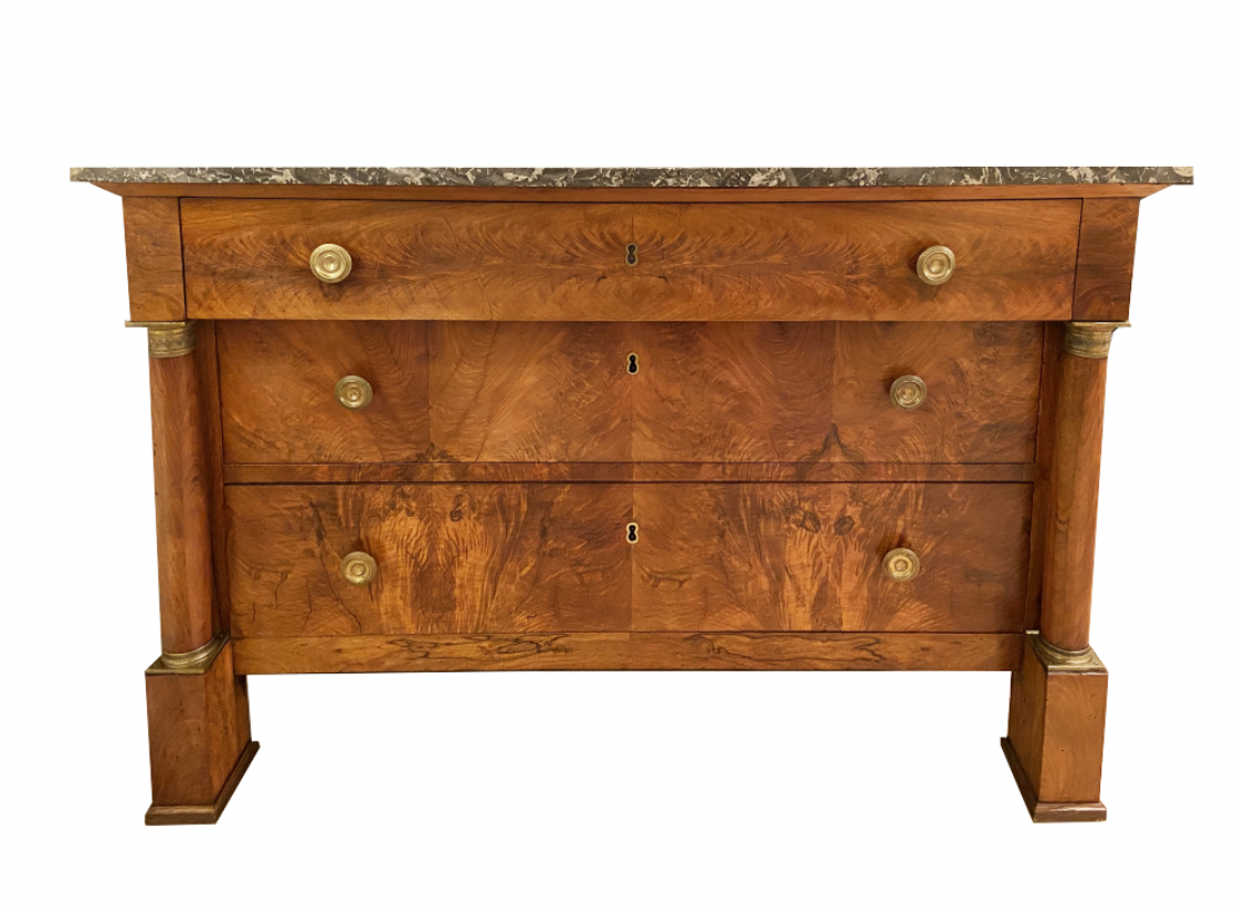 Image of 19th Century French Empire Walnut Commode With Marble Top