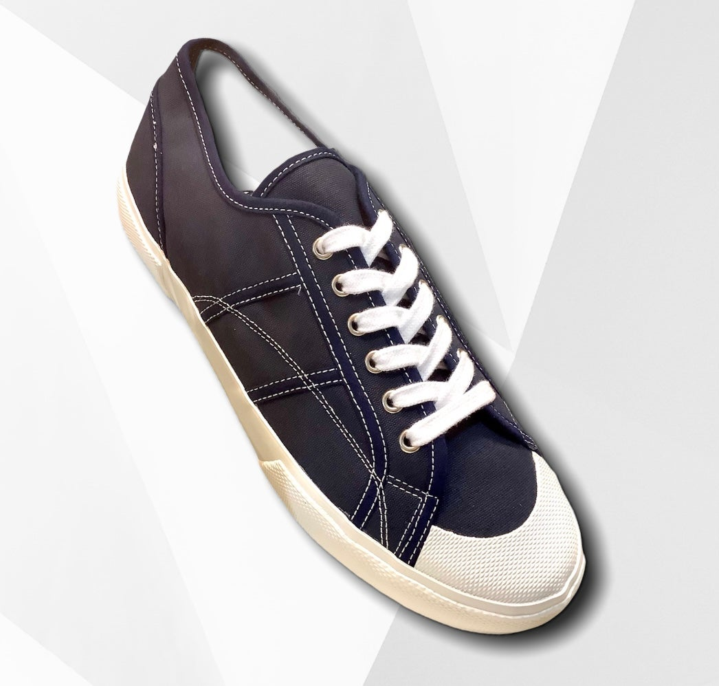 Image of ALLX x Quarter416 Italian army trainer shoes navy made in Romania