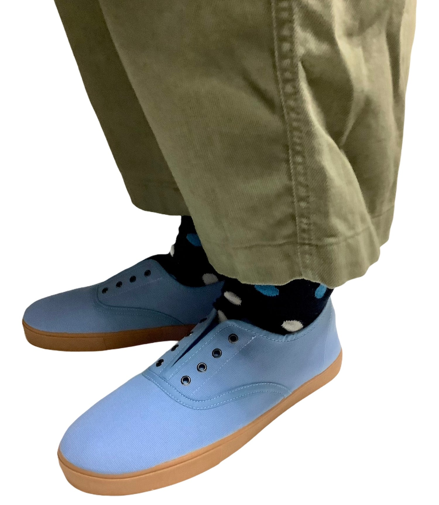 Image of Tortola plimsoll blue canvas sneaker made in Spain