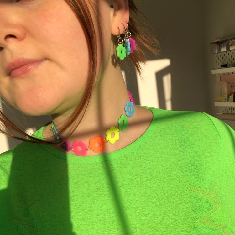 Image of NEON FLOWER POWER CHOKER (CUT-OUT)