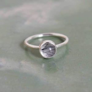 Image of Black Rutilated Quartz cabochon classic silver ring