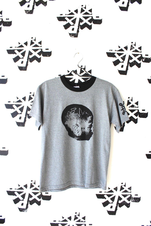 head on straight ringer tee in gray/black