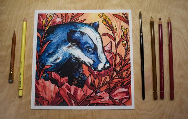 Image of Badger Indigo and Berry - Art Print