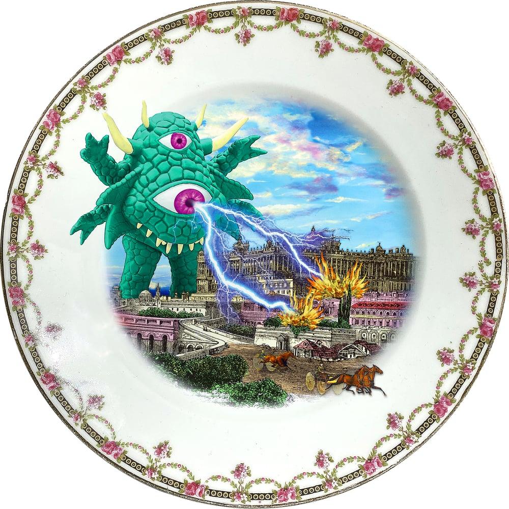 Image of The Green Monster - Vintage Porcelain Plate - #0755