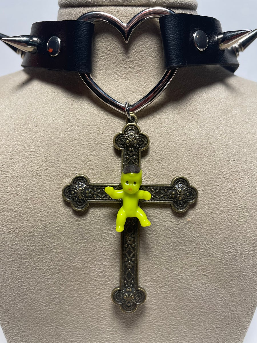 Image of Green Baby Cross Spiked Choker