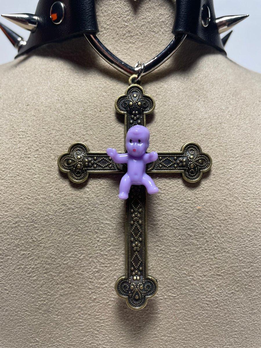 Image of Purple Baby Cross Spiked Choker