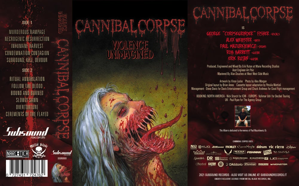 Cannibal Corpse - Violence Unimagined - Tape White ( Subsound Exclusive )