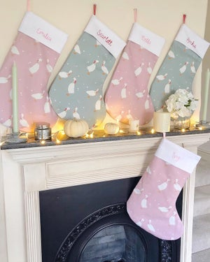 Image of Pink Geese Stocking