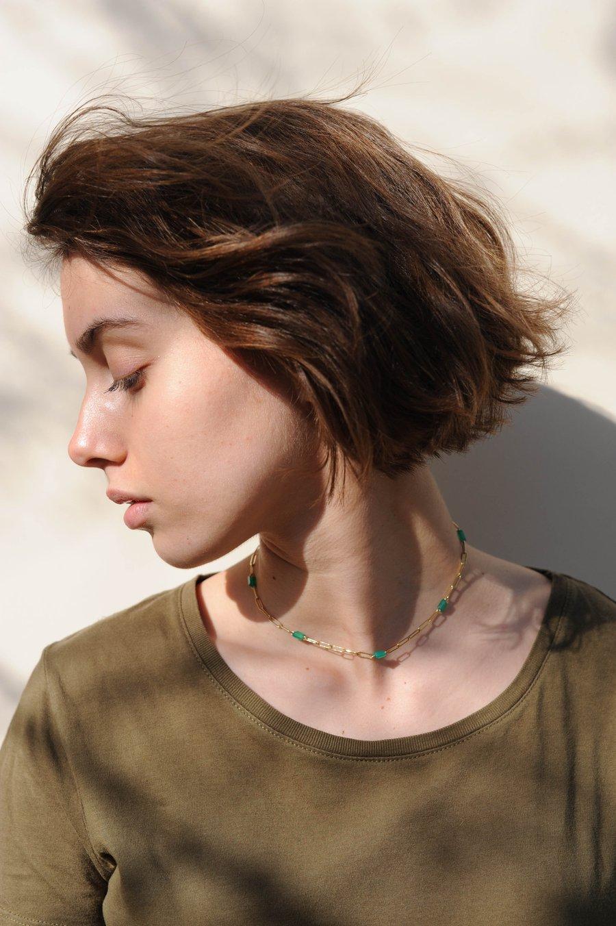 Image of Collier Meluna onyx vert