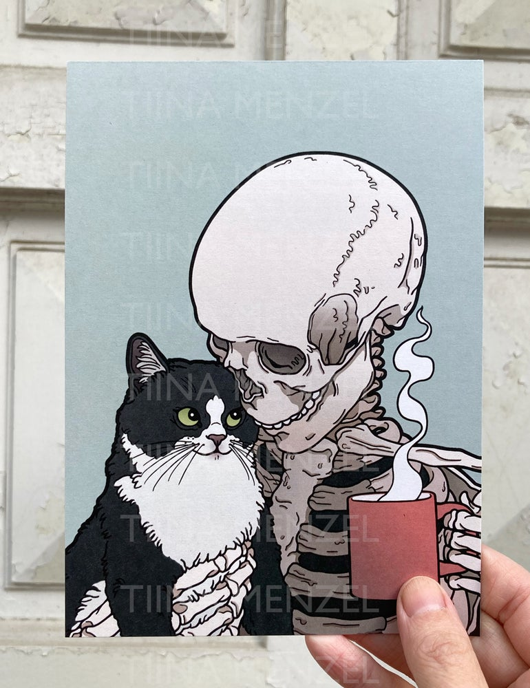 Image of Cats and coffee print