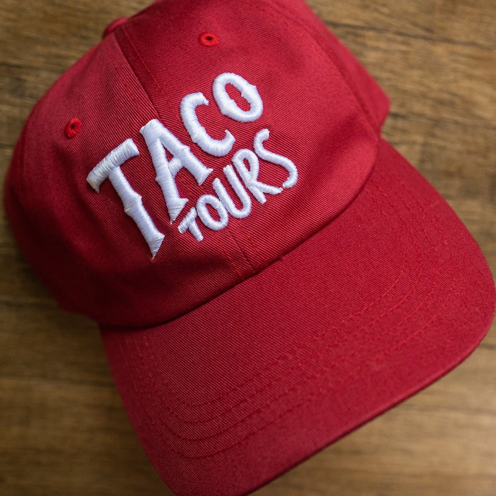 TACO TOURS DAD HAT IN CRANBERRY