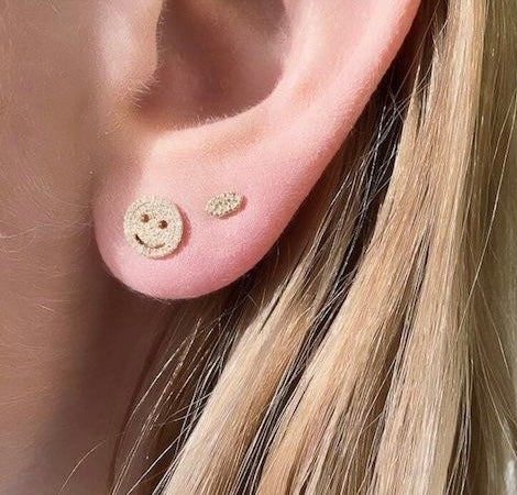 Image of 14kt and diamond Smiley Face studs