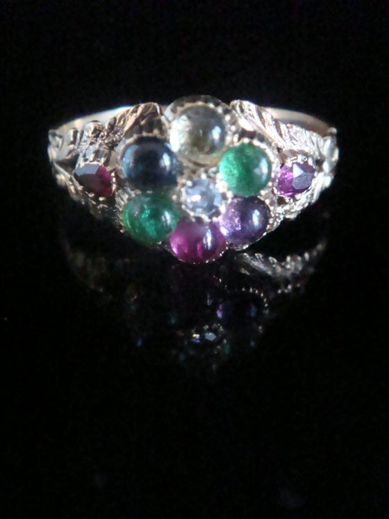 Image of Georgian 9ct or higher DEAREST cluster ring with diamond ruby sapphire tourmaline amethyst & garnet