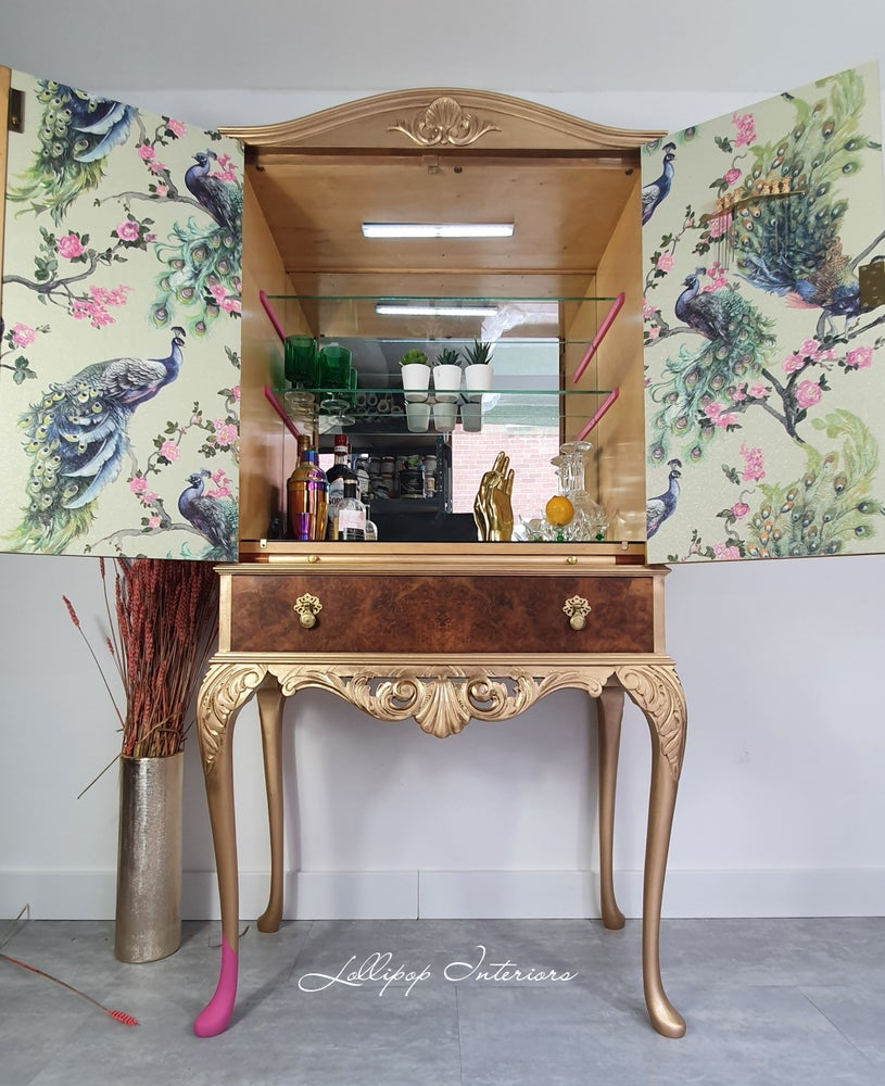 Image of Herkel cocktail cabinet part painted in gold