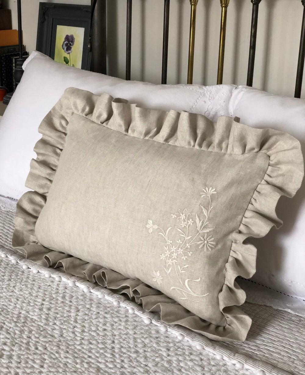 Image of Embroidered corn flowers on Frill linen Cushion