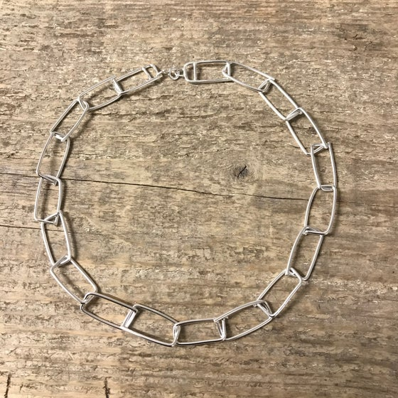 Image of wabi sabi rectangle link chain - chunky silver necklace - brutalist necklace chain