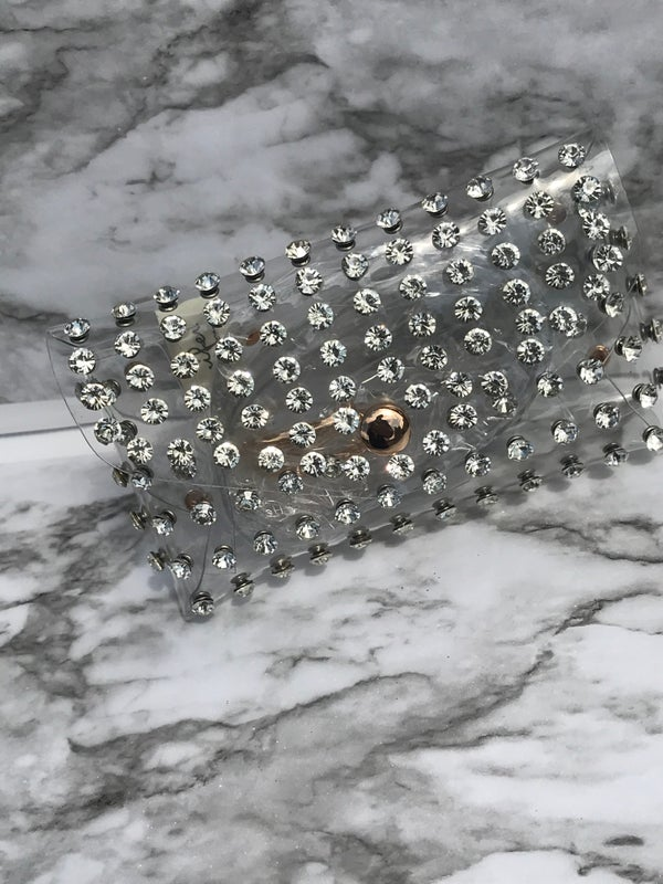 """Image of """"CLEAR"""" STUDDED FANNIE PACK"""