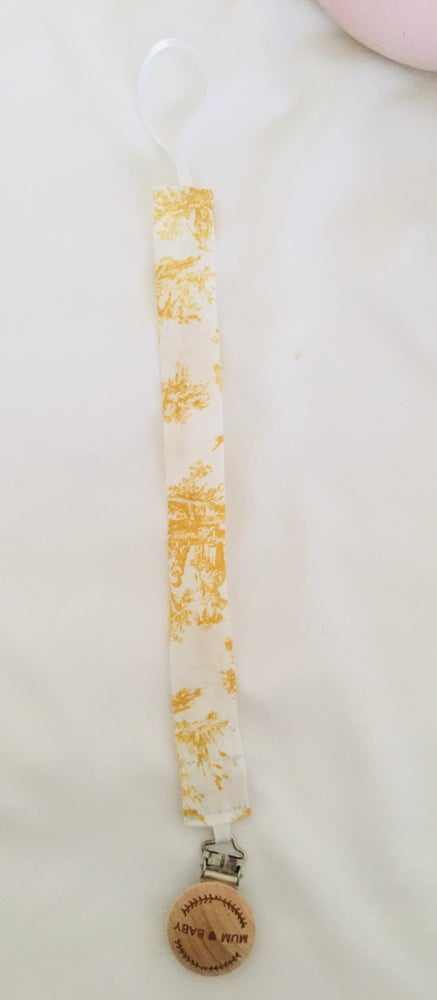 Image of Attache tétine toile de jouy jaune