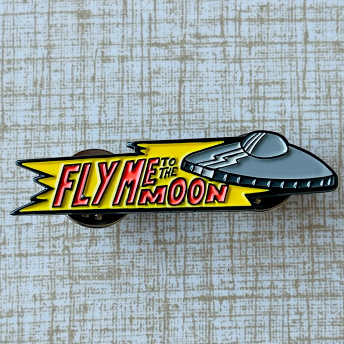 """FLY ME TO THE MOON Flying Saucer/Sinatra Mash-Up 1.75"""" Soft Enamel Pin"""