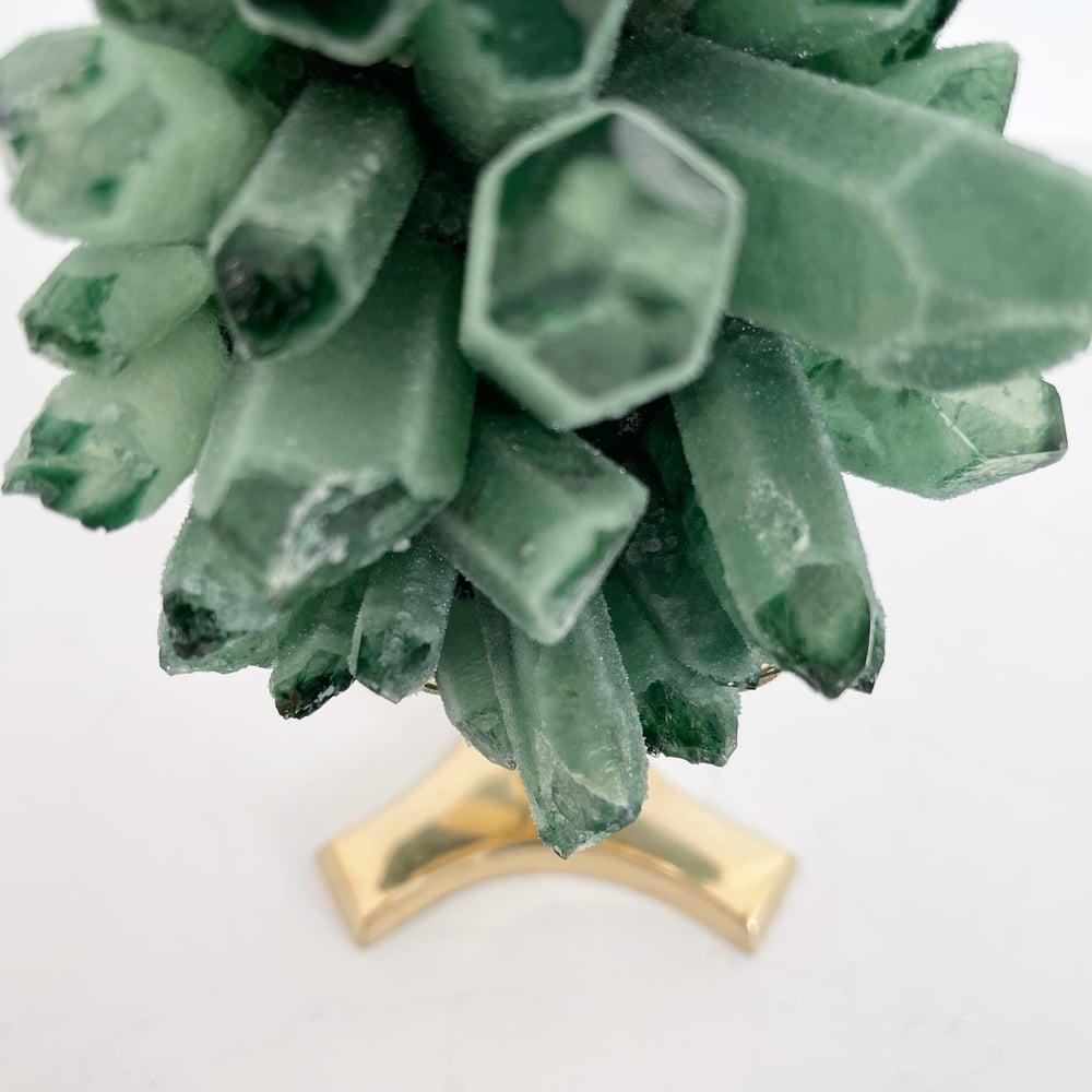 Image of Green Phantom Quartz Crystal Cluster no.42 + Brass Stand