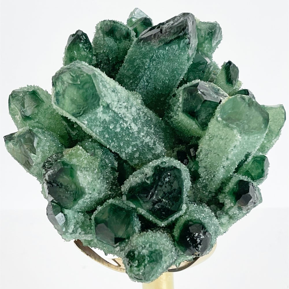 Image of Green Phantom Quartz Crystal Cluster no. 92 + Brass Stand