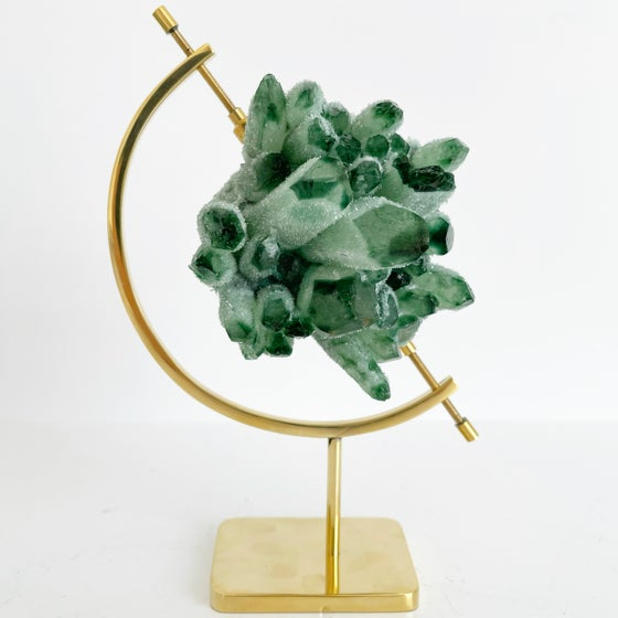 Image of Green Phantom Quartz no.96 + Brass Arc Stand