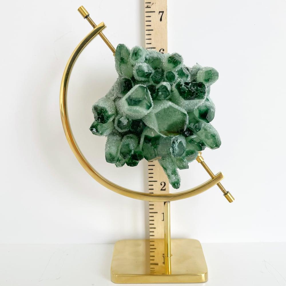 Image of Green Phantom Quartz no.96 + Brass Arc Stand