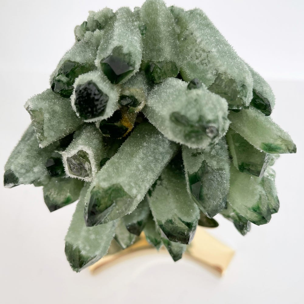 Image of Green Phantom Quartz Crystal Cluster no. 36 + Brass Stand