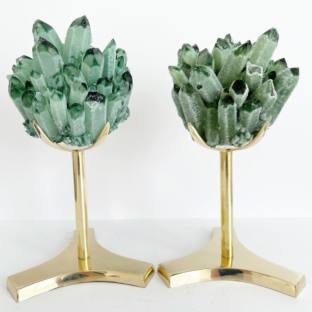 Image of Green Phantom Quartz Crystal Cluster no. 156 + Brass Stand