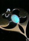 Art Nouveau 15ct yellow gold natural solid opal pendant and brooch