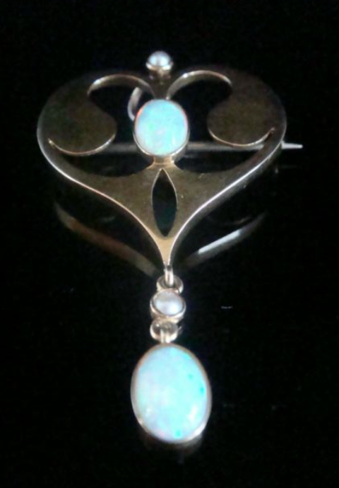 Image of Art Nouveau 15ct yellow gold natural solid opal pendant and brooch