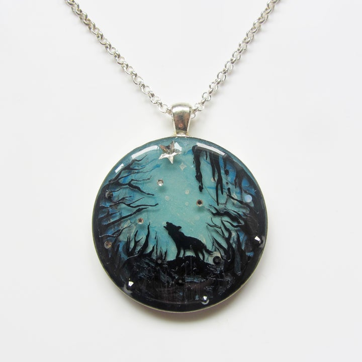 Forest Macabre Wolf Silver Round Pendant