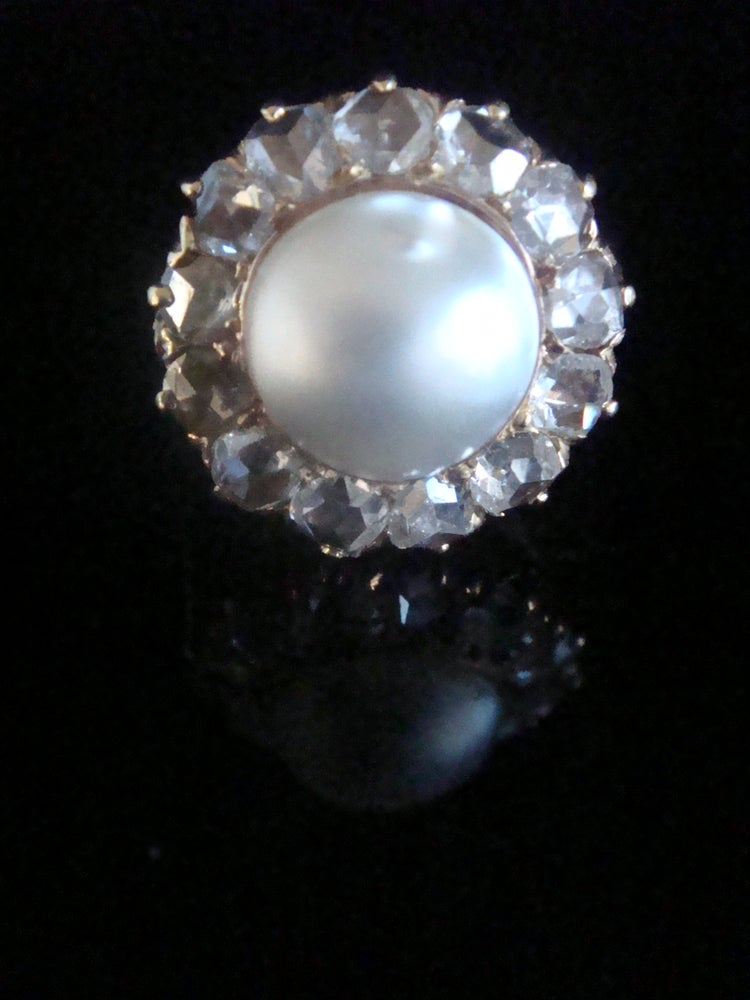 Image of Large Edwardian French 18ct rose gold rose cut diamond and pearl cluster 1.50ct