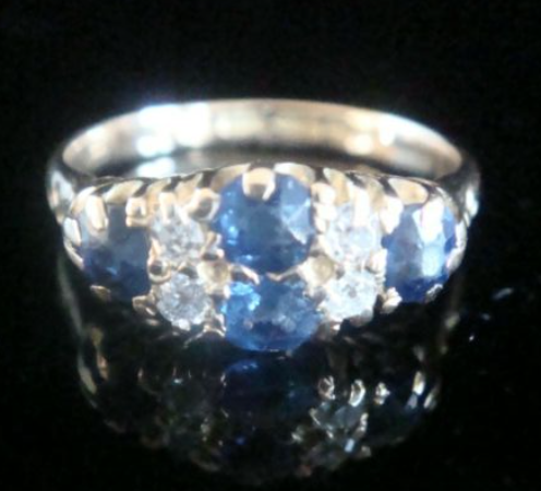 Image of EDWARDIAN 18CT NATURAL CUSHION CUT SAPPHIRE AND DIAMOND BOAT RING