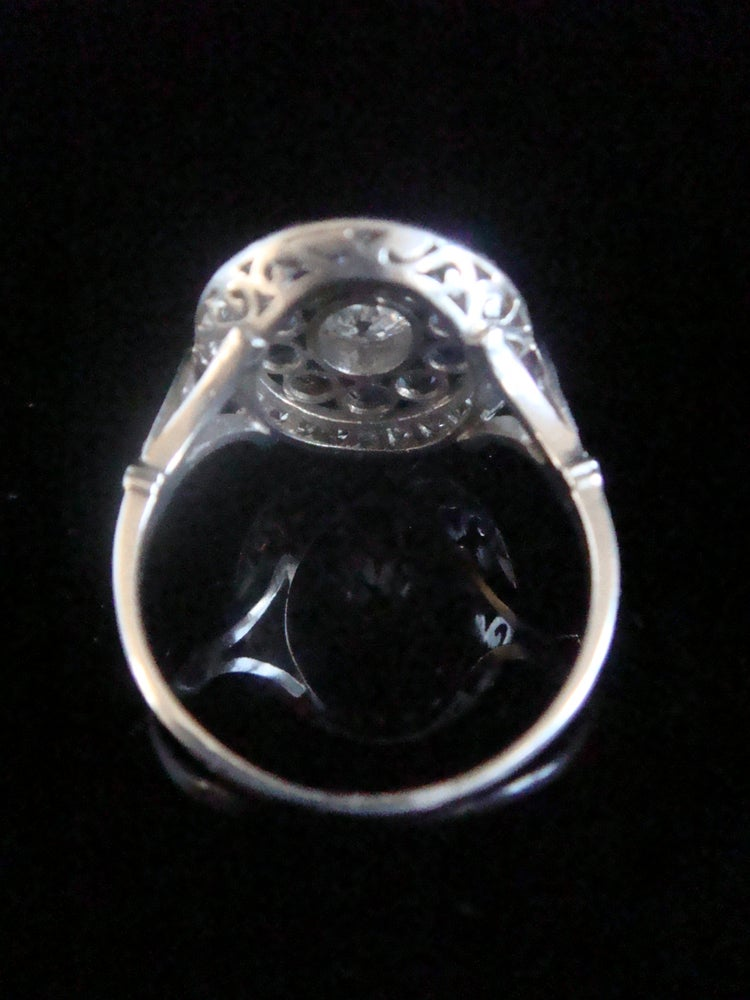 Image of Edwardian large French Platinum natural sapphire and diamond cluster ring