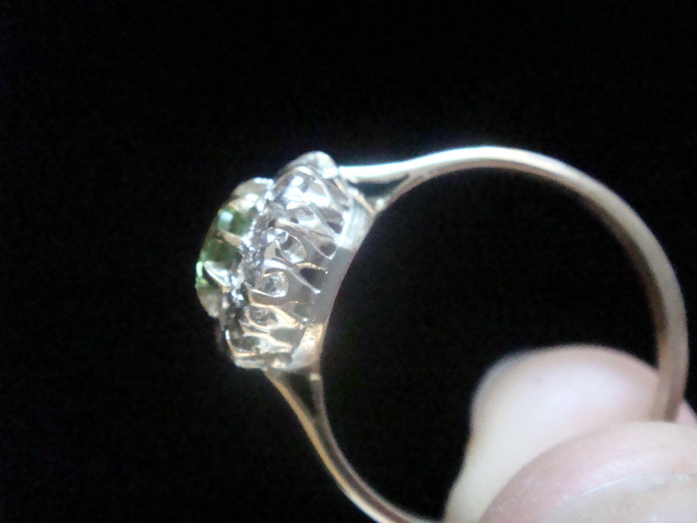 Image of Edwardian 18ct yellow gold and platinum natural peridot and diamond cluster ring