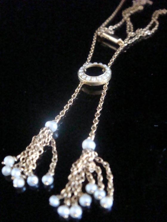 Image of Original Edwardian 15ct yellow gold halo tassel seed pearl necklace chain with barrel clasp