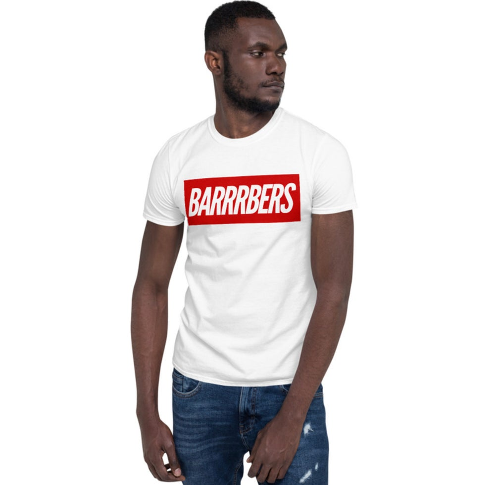 """Image of We Are Supreme """"BARRRBERS"""" White T-shirt!"""