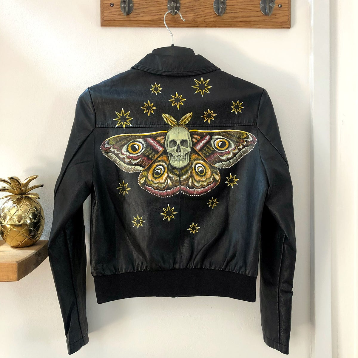 Death Moth Hand Painted Faux Leather Jacket