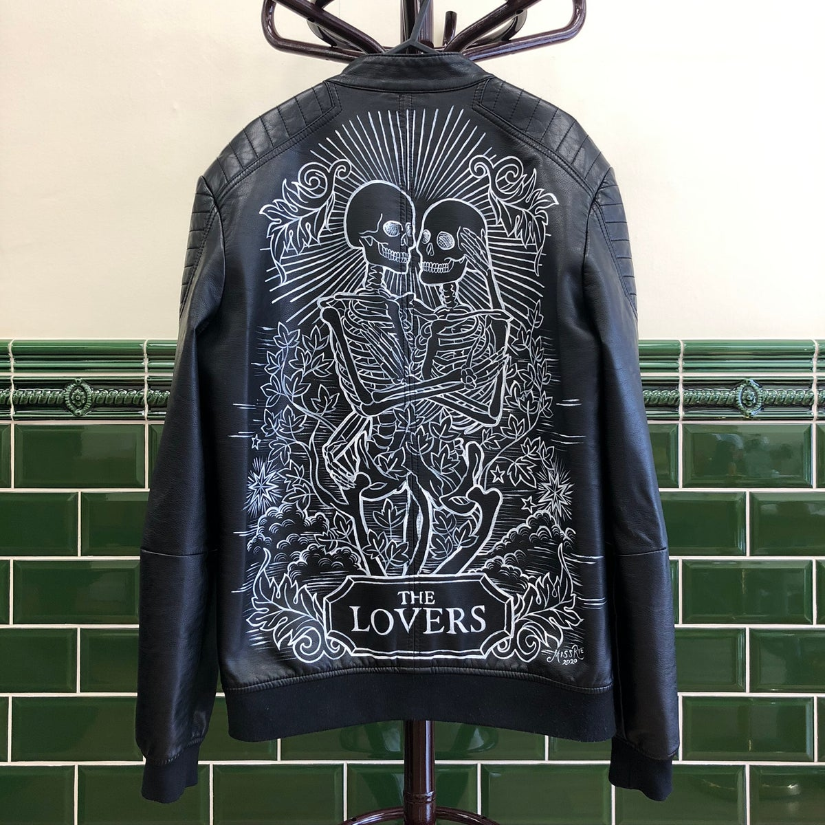 The Lovers Hand Painted Faux Leather Jacket