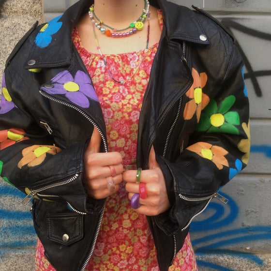 Image of UPCYLCING FLOWERS POWER JACKET