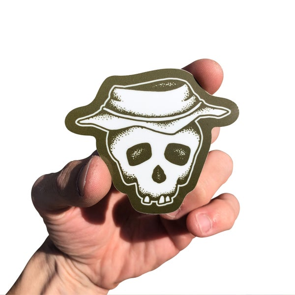"Image of Military Green ""Bucket Skull"" Sticker"
