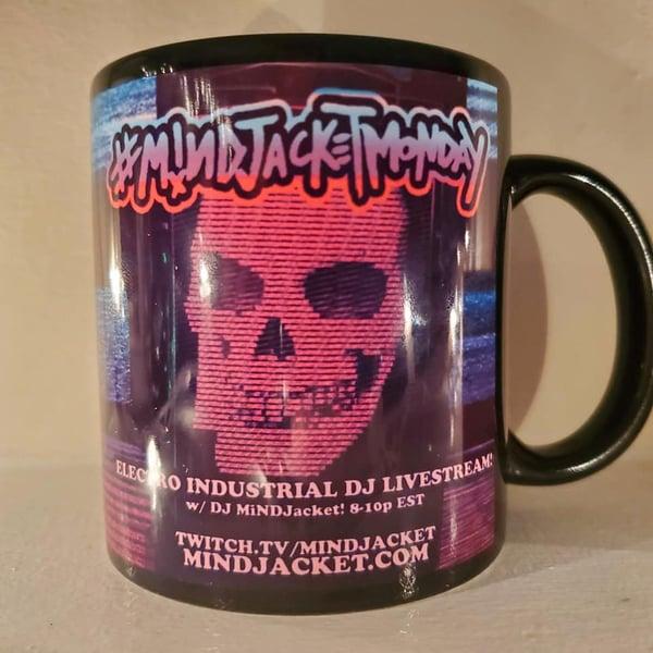 """Image of Mindjacket Monday """"TV Wall"""" Black Mug"""