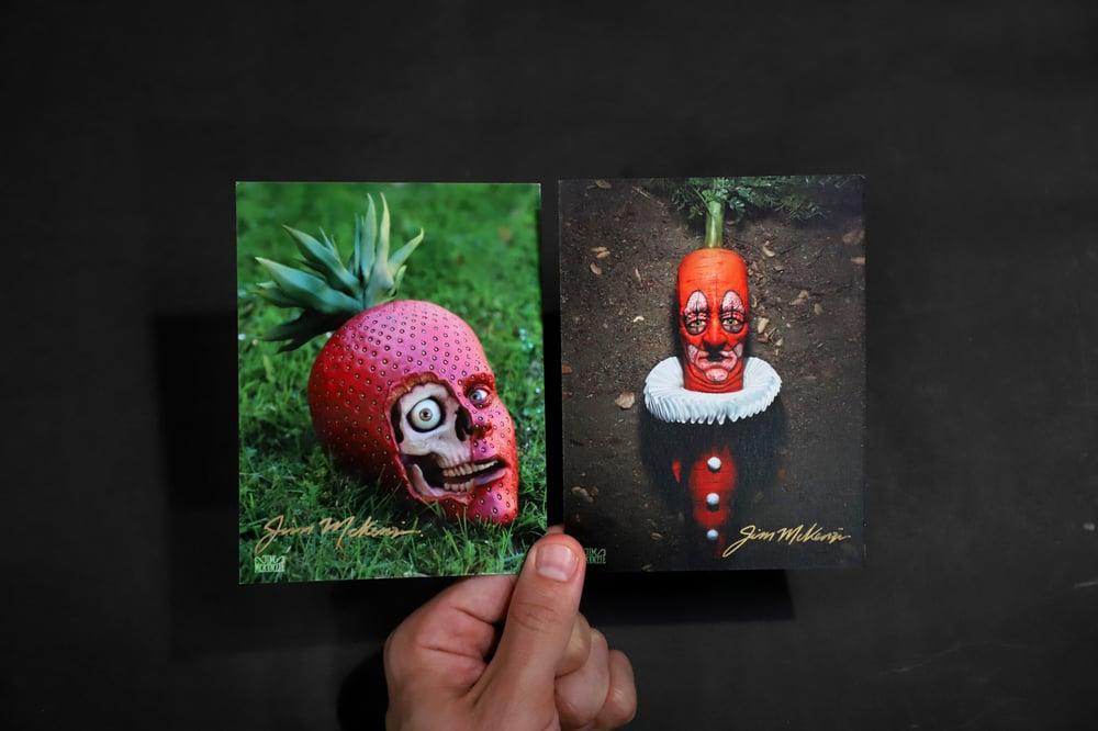 "Image of SIGNED Postcard Set - ""Strawberry Skull / Carrot Clown"""