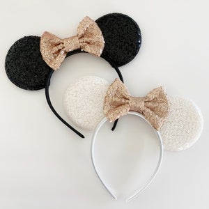 Image of Sequin Mouse Ears with Matte Rose Gold Bow