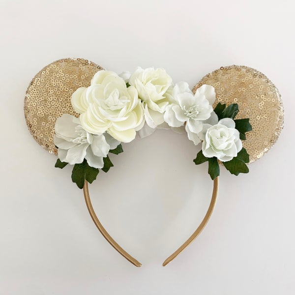 Image of Floral Mouse Ears - White