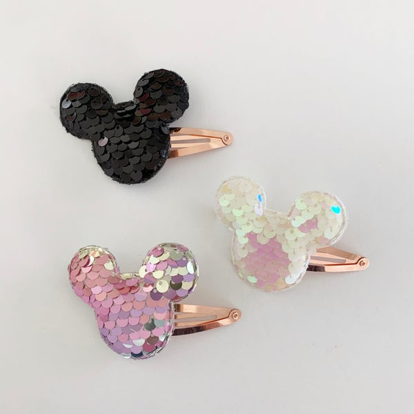 Image of Sequin Mickey Clips