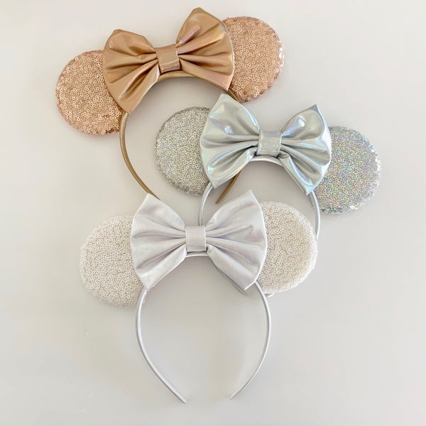 Image of Sequin Mouse Ears with Faux Leather Holographic Bow