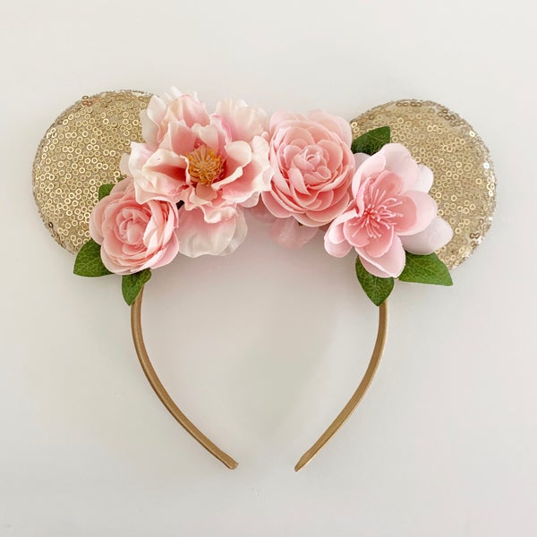 Image of Floral Mouse Ears - Bubblegum Pink on Gold